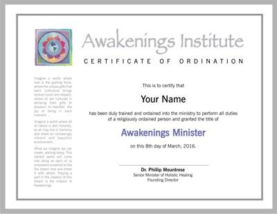 Awakenings' Ordination Certificate