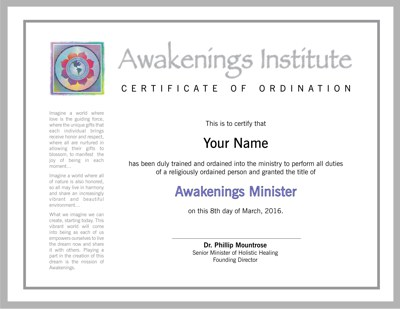 Awakenings' Ordination Certificate